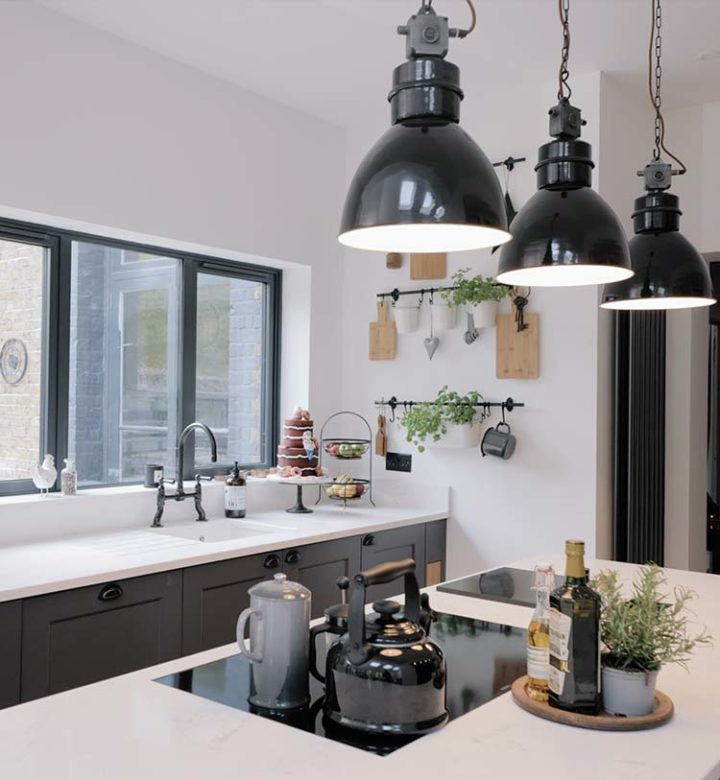 Seventy6 Building Services new extension with hanging lights